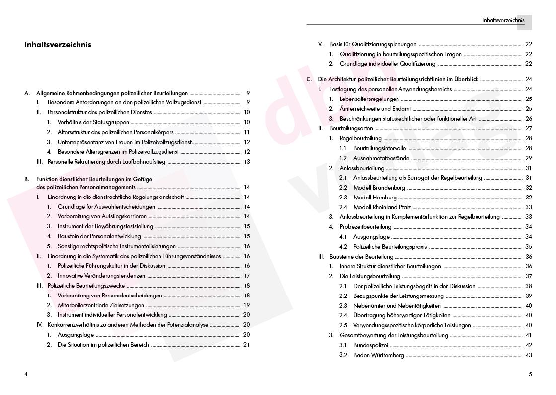 Die polizeilichen Beurteilungsrichtlinien – Inhaltsverzeichnis S. 4–5