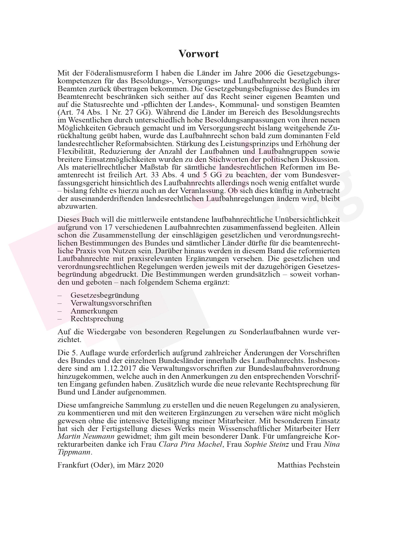 Laufbahnrecht in Bund und Ländern – Vorwort © DBB Verlag GmbH