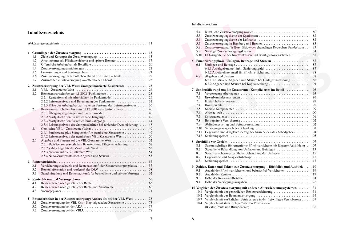 Zusatzversorgung im öffentlichen Dienst – Inhaltsverzeichnis Seite 7-8