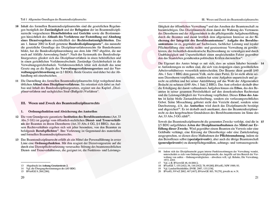 Grundzüge des Beamtendisziplinarrechts – Auszug Seite 20-21