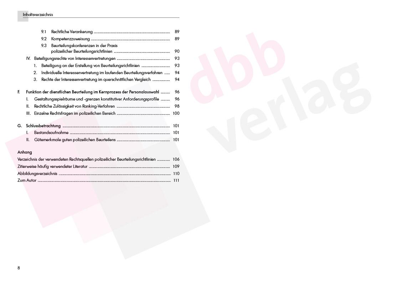 Die polizeilichen Beurteilungsrichtlinien – Inhaltsverzeichnis S. 8