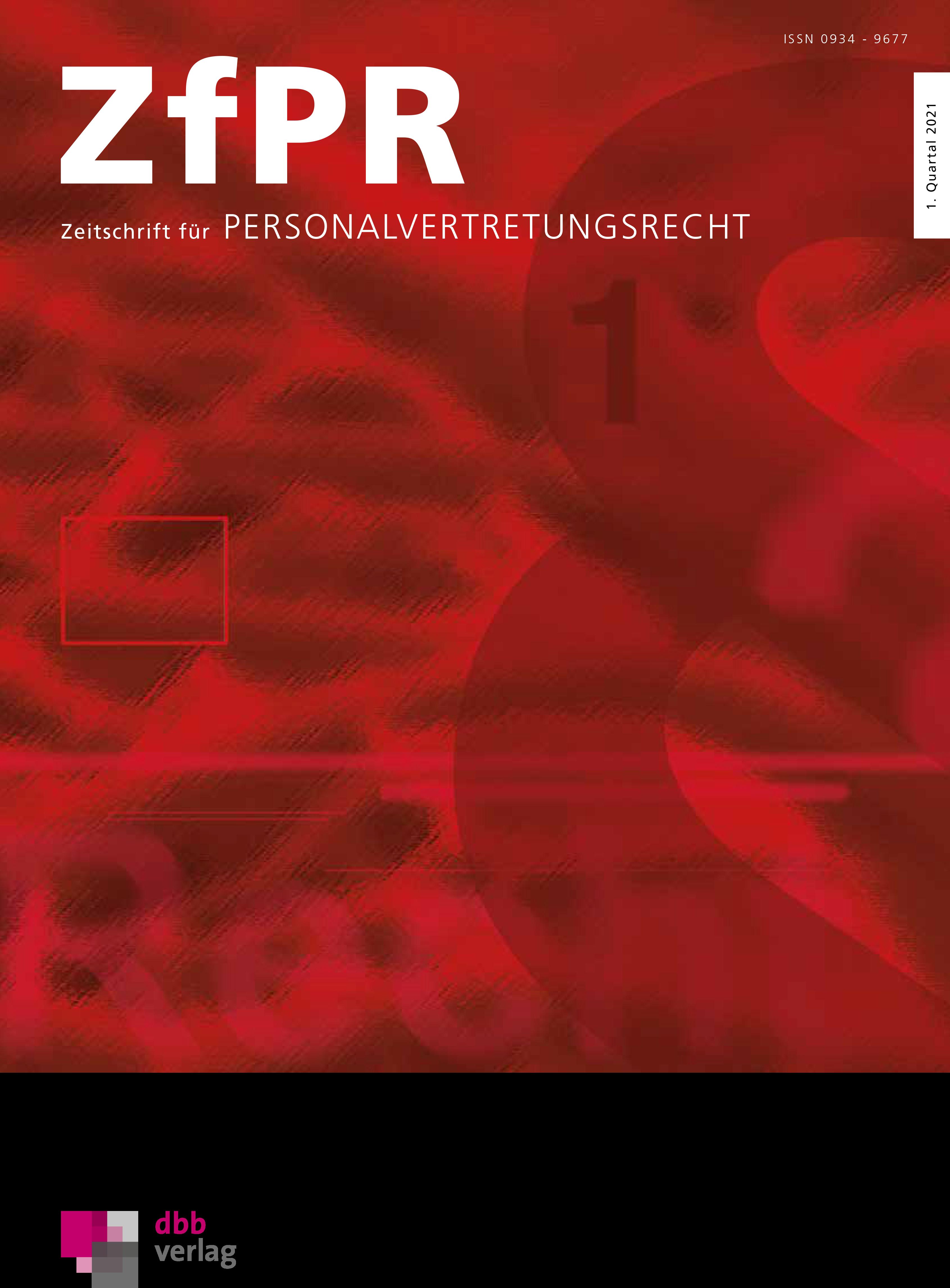 ZfPR Zeitschrift für Personalvertretungsrecht © DBB Verlag GmbH