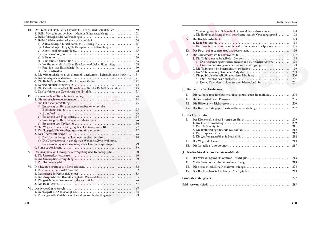 Beamtenrecht - Inhaltsverzeichnis Seite 12-13