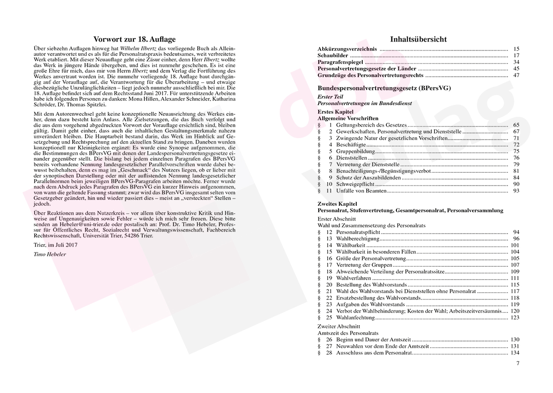 Personalvertretungsrecht des Bundes und der Länder – Vorwort und Inhaltsverzeichnis