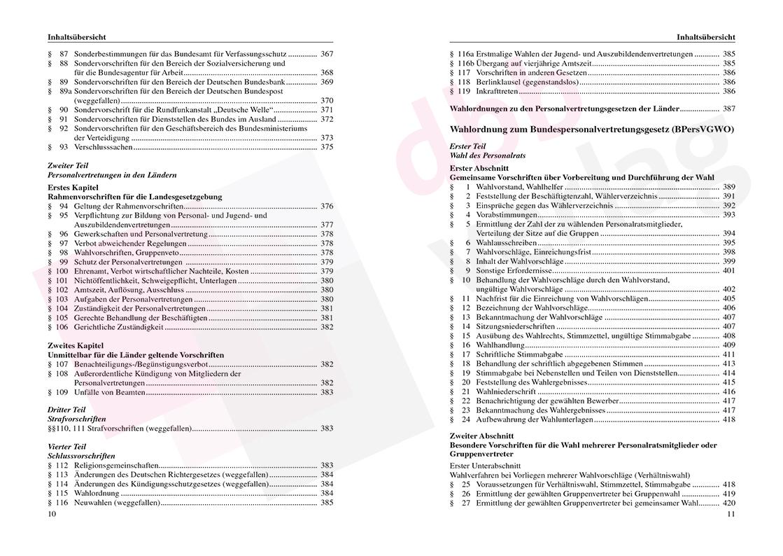 Personalvertretungsrecht des Bundes und der Länder – Inhaltsverzeichnis Seite 10-11