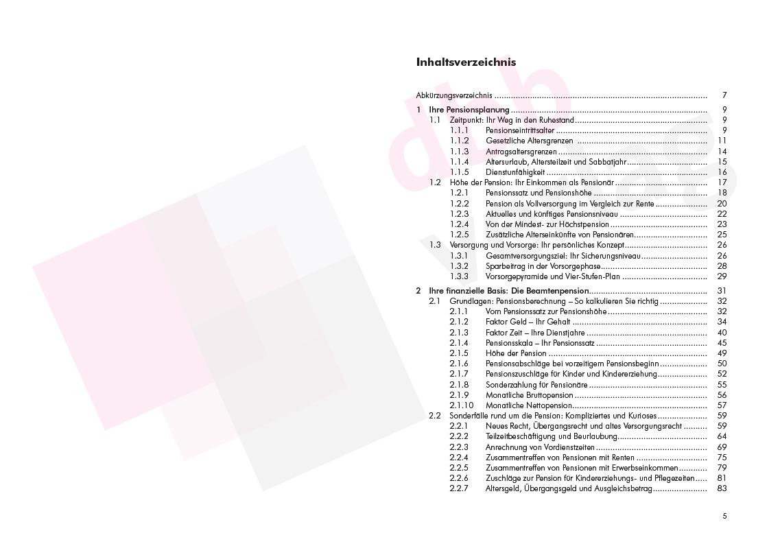 Finanziell sicher in Pension – Inhaltsverzeichnis S. 5