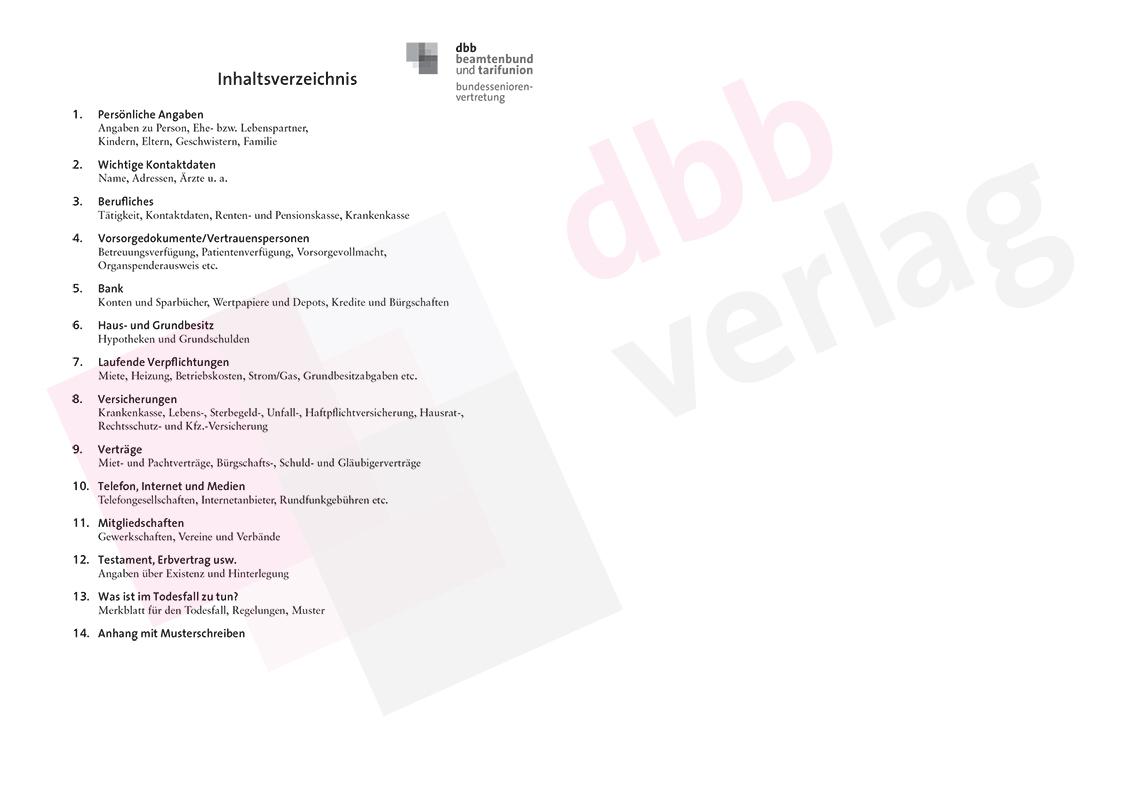 Für den Notfall – Inhaltsverzeichnis