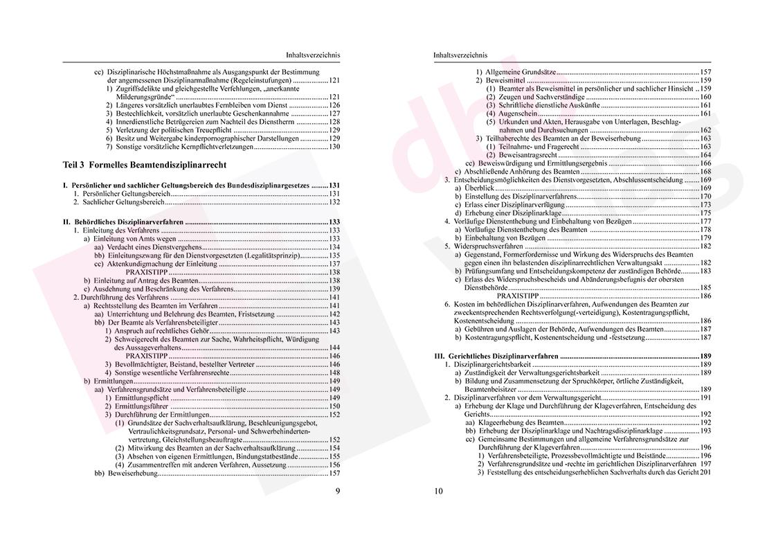 Grundzüge des Beamtendisziplinarrechts – Inhaltsverzeichnis Seite 9-10