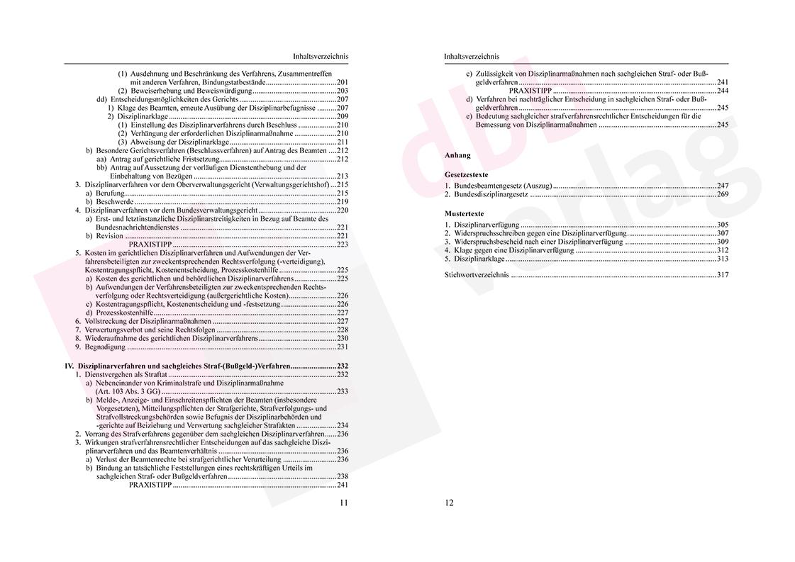 Grundzüge des Beamtendisziplinarrechts – Inhaltsverzeichnis Seite 11-12