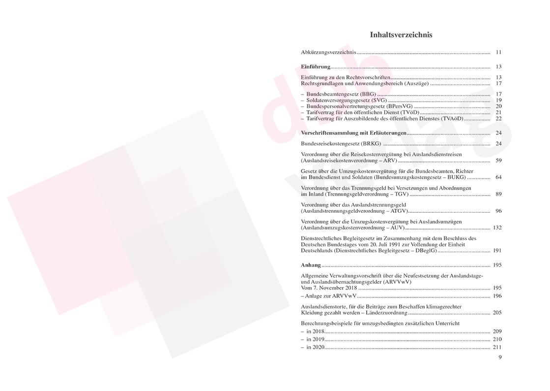 Reisekosten-, Umzugskosten-, Trennungsgeldrecht – Inhaltsverzeichnis S. 9