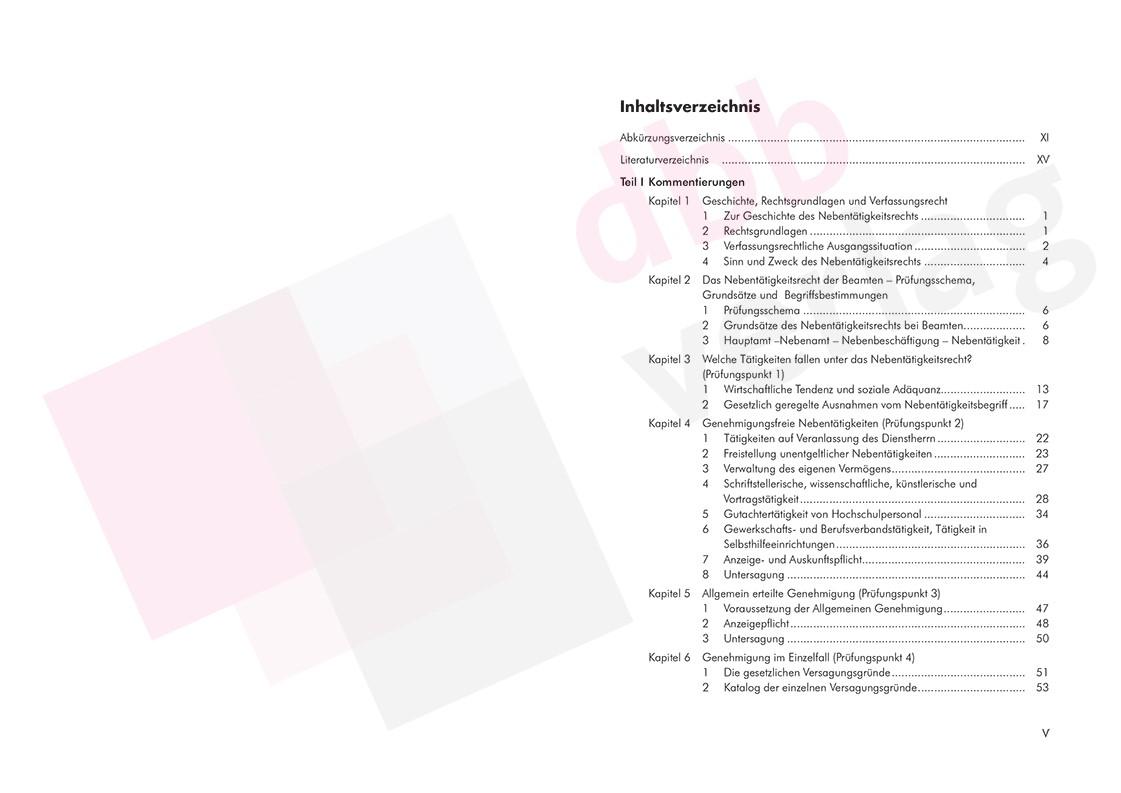 Nebentätigkeit im öffentlichen Dienst des Bundes, der Länder und Kommunen - Inhaltsverzeichnis Seite  5