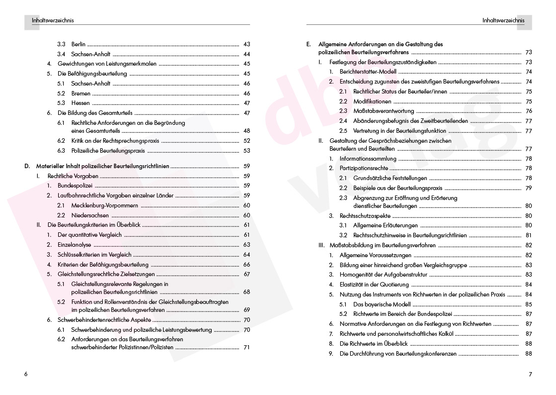 Die polizeilichen Beurteilungsrichtlinien – Inhaltsverzeichnis S. 6–7