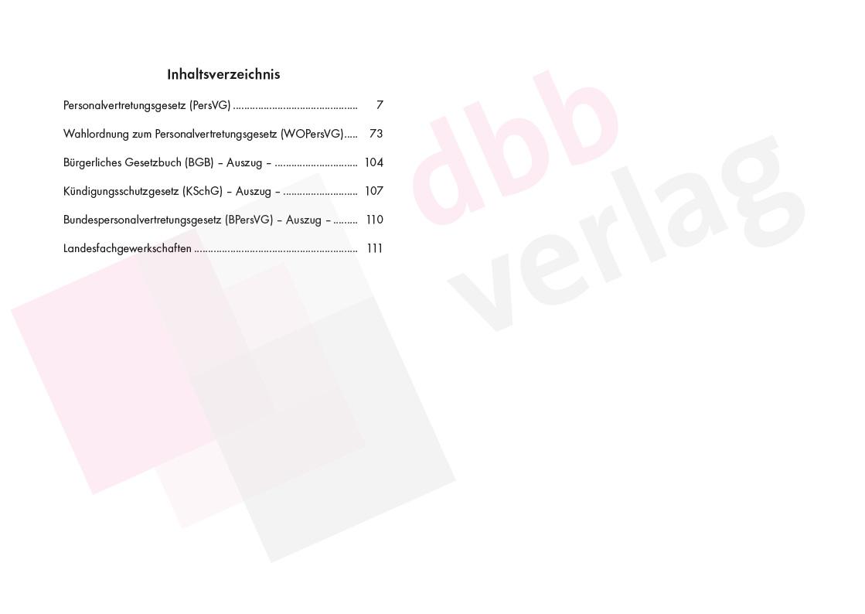 Personalvertretungsgesetz Berlin - Inhaltsverzeichnis