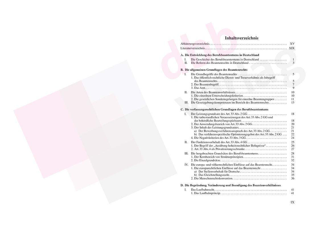 Beamtenrecht - Inhaltsverzeichnis Seite 9