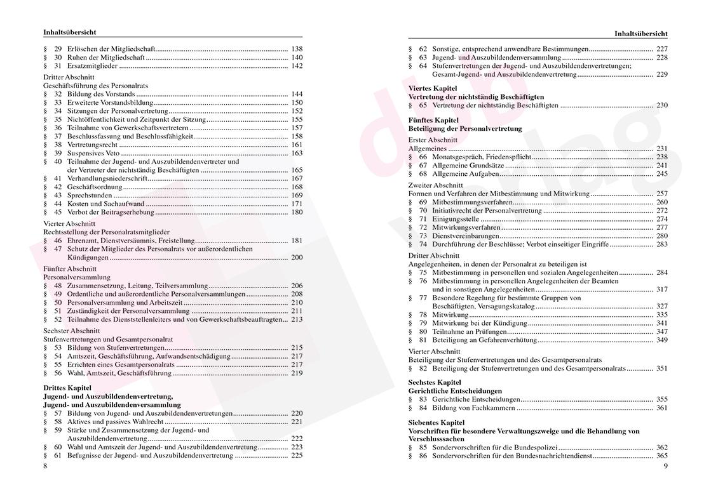 Personalvertretungsrecht des Bundes und der Länder – Inhaltsverzeichnis Seite 8-9