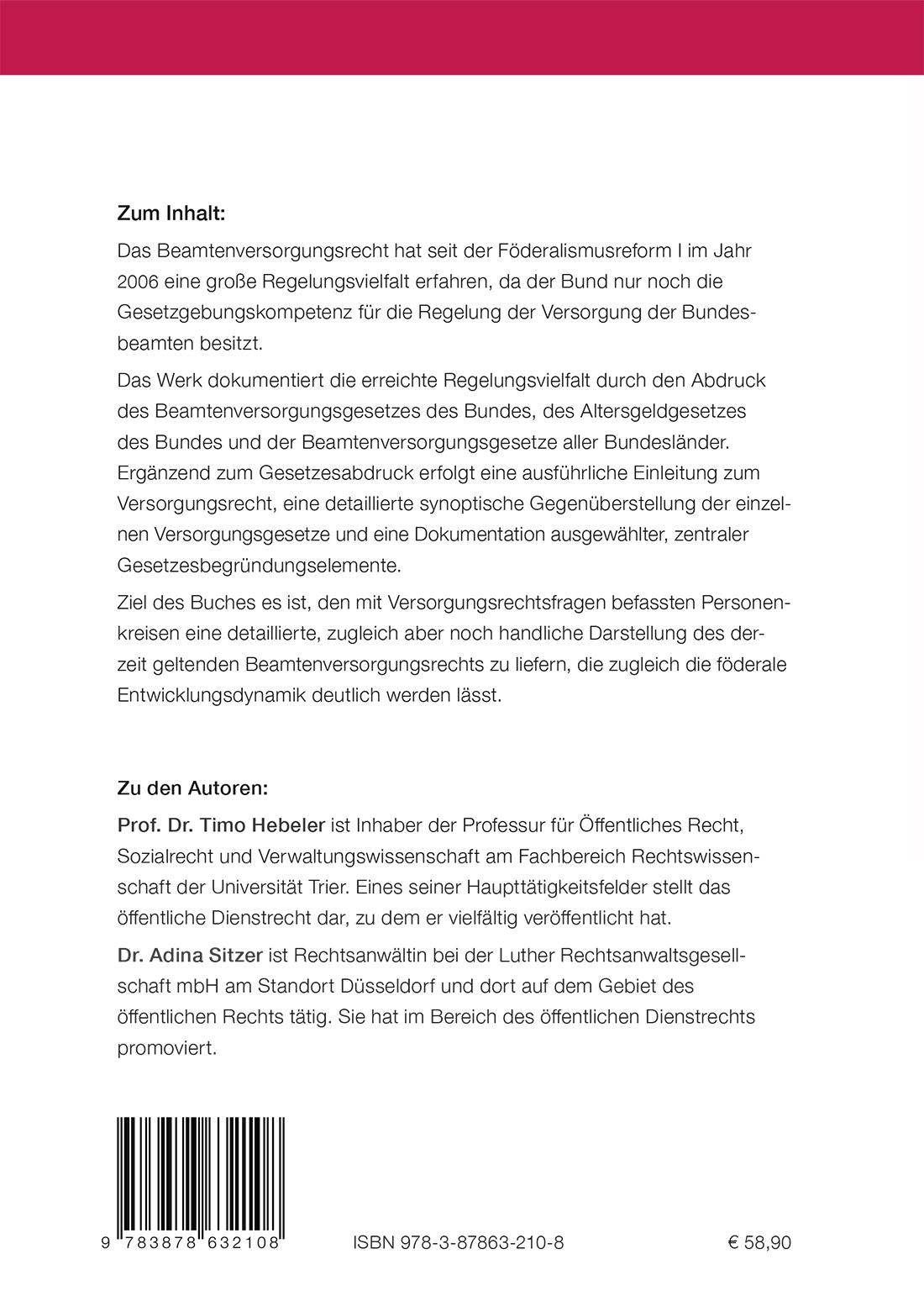 Beamtenversorgungsrecht in Bund und Ländern - Klappentext