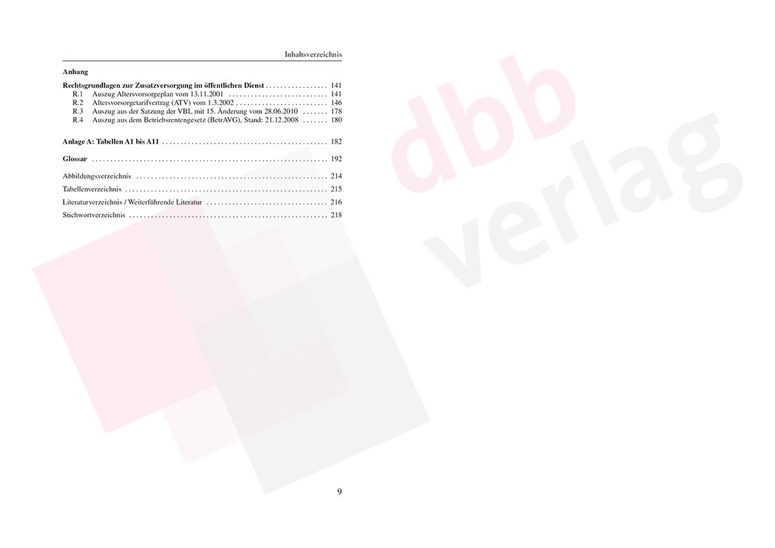 Zusatzversorgung im öffentlichen Dienst – Inhaltsverzeichnis Seite 9