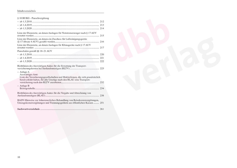 Reisekosten-, Umzugskosten-, Trennungsgeldrecht – Inhaltsverzeichnis S. 10