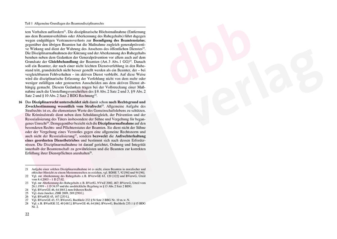 Grundzüge des Beamtendisziplinarrechts – Auszug Seite 22